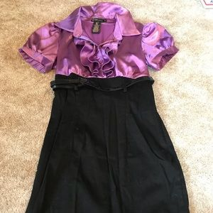 Black and purple business dress